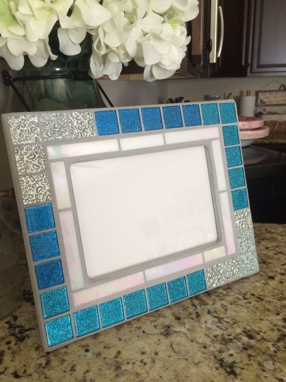 Stained Glass Mosaic Picture Frame Blue And By Blueoceanglass