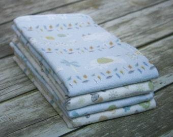 Cotton Flannel Burp Cloths - Set of 4