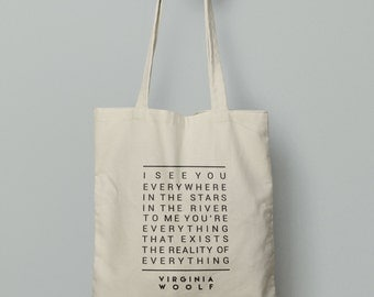 Virgina Woolf Quote Tote Bag, Literary gift