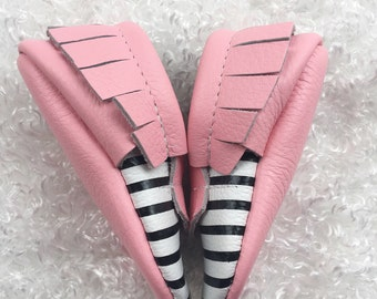 Pink & Black Striped Moccasins