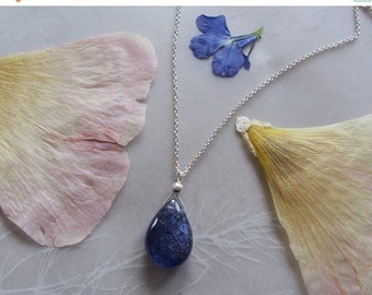 """15% OFF Tanzanite Gemstone Smooth Dainty Drop Pendant on Delicate Sterling Silver Chain Necklace ~ 19"""" Length"""