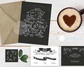Wedding Invitation Set, Printable Invitations, Chalkboard wedding Invitation  Rustic : CHELSEA Chalkboard