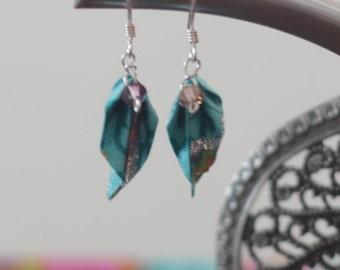 Origami leaf earrings, handmade paper