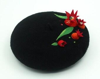 Wool beret,handmade felted beret with Needle felt pomegranate,Needle Felted hat pattern,wet felt beret