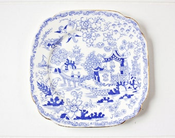 """Royal Albert Crown China """"Blue Willow"""" Square Plate 6 3/4"""": English Plate, Blue Transferware Plate, Tea Party Plate, Vintage Wall Plate"""
