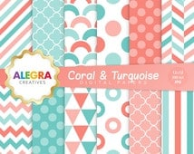 Coral & Turquoise Digital Papers, Geometric Scrapbook Paper, Polka Dot, Chevron, Stripes - Instant Download - P011