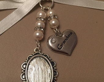 Bridal Bouquet Oval Photo Memory Charm Wedding Swarovski Beads Grandma