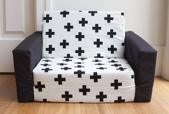 Kids Toddler Flip Out Sofa Cover Black Swiss Cross On White
