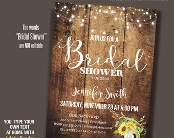 Bridal Shower Invitation, Rustic Wood, Wedding shower, instant download editable PDF file A140