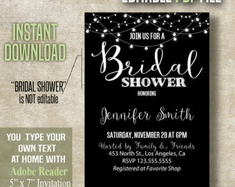 Bridal Shower Invitation, Instant Download Editable invite, You type your text at home with Adobe Reader, PDF file A460