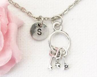 Key necklace, key necklace, key jewellery, key jewelry, key, Personalised jewelry, initial necklace, handmade necklace,SPINKEY01
