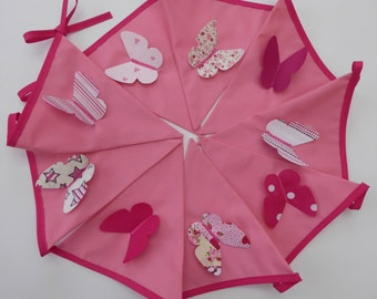 Pink Butterfly Bunting, nursery bunting, baby bunting, bedroom bunting, girl bunting, cake smash bunting, pink bunting,3D Bunting, Butterfly