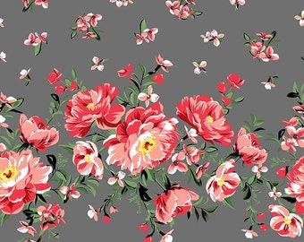 QUILTING COTTON Cabbage Rose Border Print in Pearl. Sold by the 1/2 yard
