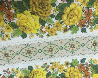 Vintage Curtain Window Treatment Yellow Rose Floral Fabric