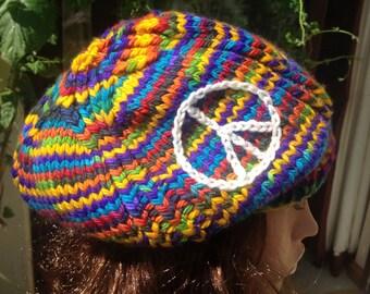 Knit hat .Slouchy tam, chunky beret , custom knit , hand dyed yarn , choice of symbol or motif. Chunky beanie