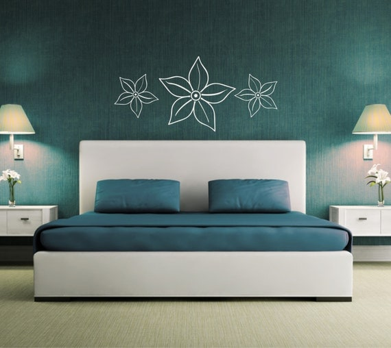 items similar to wall sticker flower wall decal above bed decor bedroom floral wall. Black Bedroom Furniture Sets. Home Design Ideas