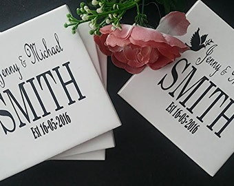 Personalised Wedding Coasters - Names and Date - Set of 4