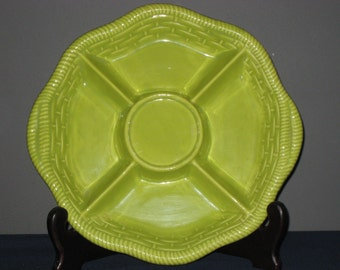 California USA Divided Platter/Calif USA 759/Vintage Calif Pottery/Bright Green Dish Platter/Vintage Divided Dish