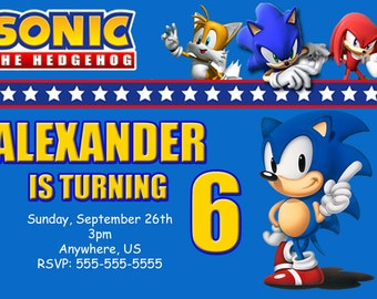 Sega Sonic Hedgehog Birthday Invitations, Sonic Hedgehog Digital Invitations, Sonic Birthday Invitations, Sonic Invitations, Sonic Party