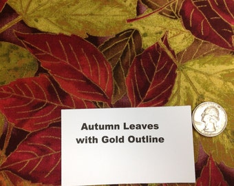 Autumn Leaves with Gold Outline Fabric - 2 Yards