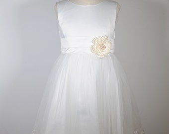 White Elegant Flower Girl Dress, Big Satin Tie-bow, Flower Brooch, Wedding, bridal, toddler bridesmaid
