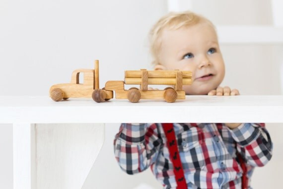 Boy Birthday Gift, Log Truck with Cargo, Wooden Push Toy, Natural, Toddler Gift, Wooden Car Toy, Toddler Boy Gift, Kids Christmas Gift Idea