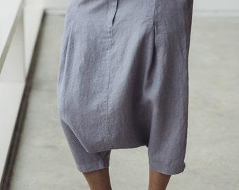 vintage linen pants / drawstring woven linen trousers /