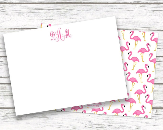 Pink Flamingo Monogram Stationery Note Cards, Tropical Preppy Print Notecards Matching Back, Bridesmaid Gift, Printed Printable Options