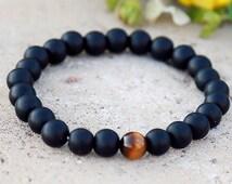 men beaded bracelet Tiger eye bracelet Black obsidian bracelet matte bracelet men bracelet matte obsidian bracelet Black  Bead Bracelet