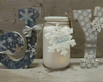 Joy Wood Letters, Joy Letters, Joy Mantle Decor, Christmas Mantle, Chunky Wood Joy Letters, Decorative Letters, Christmas Wood Letters