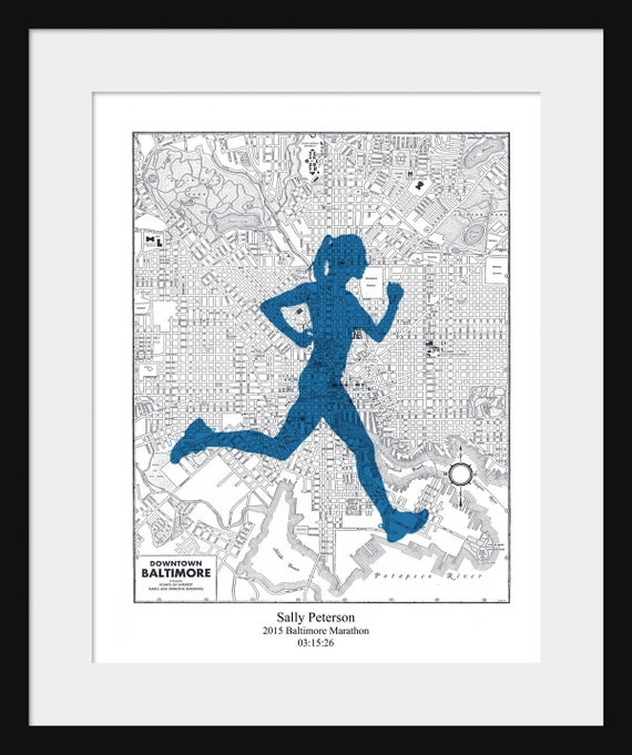 Baltimore Marathon Custom Map Personalized Gift Marathon
