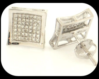 New MENS 14K White Gold 0.30 CT Diamond Stud EARRINGS Cluster Round Micro Pave