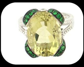 New 14K White Gold Lemon Quartz Tsavorite Garnet & Diamond Wide RING