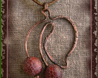 """Necklace Pendant for women """"Ripe Cherry"""" with agate beads."""