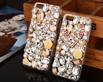 Heart shape cell phone case, peach style phone case, crystal diamond flower combination phone case