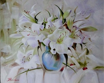 "Painting ""The Lilies"". Original Still Life Art oil painting on Canvas, Size: 25""x 21"" (63 x 53 cm)"