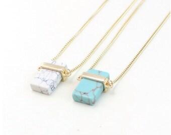 Stone Cube Pendant Necklace