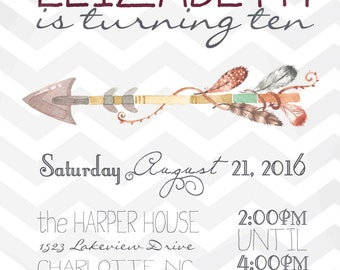Arrow Chevron Girls Tweens Birthday Party Invitation Digital Download File