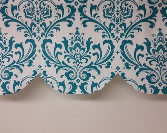 "Scallop shaped valance, traditions damask, lined, turquoise blue white, 42"" x 16"""
