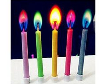 5 colour flame candles great for parties cake topper birthday candles novelty magic fun