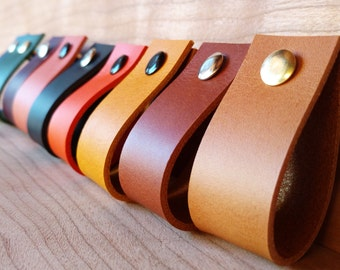 Leather Pulls, Loop, Handles, Dresser, Drawer, Cabinets, Door Handles. Leather Kitchen Pulls, Cupboard, Knobs - 1 inch, Thickness 2mm / 5oz