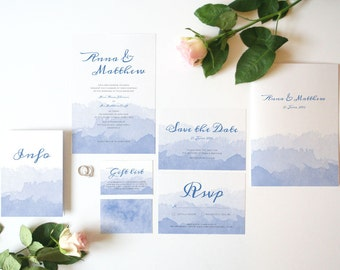 Watercolour wedding invitation set, customisable suite of wedding stationery