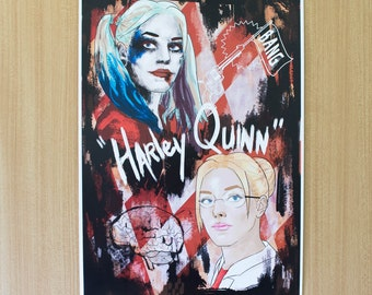 Harley quinn - before/after - A3 Print