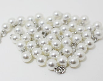 P0421/Anti-tarnished Rhodium plating over zinc alloy + Artificial Pearl/6mm Artificial Pearl Pendant Small/6mm/10pcs