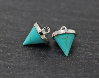 P0227/Anti-Tarnished Rhodium Plating Over Brass/Genuine Turquoise Circular Cone Pendant/10x12mm/2pcs