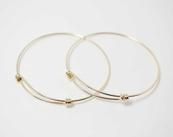 L0001/Anti-tarnished Gold Plating Over Brass/Adjustable Bangle Bracelet for Charms/68mm x 65mm,1.3m thickness/1pcs