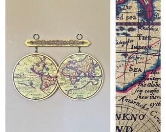 """33"""" Wood Globe Wall Map / World Globe Wall Map / Vintage World Globe / Wall World Map / Vintage World Map / Solid Wall World Map"""