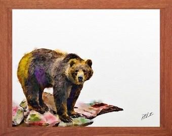 Bear, wildlife watercolours, minimalist, wildlife wall art, animal painting, wildlife painting.