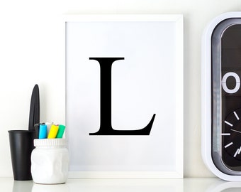 Typography Poster L, Letter L Serif, Printable Letter L, Alphabet Printable Décor, Serif Décor, Serif Printable, Letter L Monogram