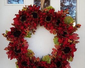 Dark Red Sunflower Grape Vine Wreath
